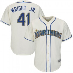 Mike Wright Jr. Seattle Mariners Youth Authentic Majestic Cool Base Alternate Jersey - Cream