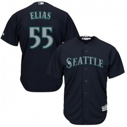 Roenis Elias Seattle Mariners Youth Replica Majestic Cool Base Alternate Jersey - Navy