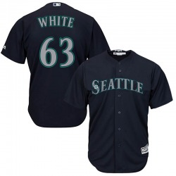 Evan White Seattle Mariners Youth Replica Majestic Cool Base Navy Alternate Jersey - White