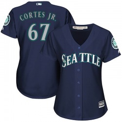 Nestor Cortes Jr. Seattle Mariners Women's Authentic Majestic Cool Base Alternate Jersey - Navy