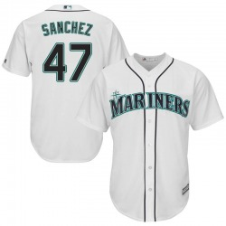 Ricardo Sanchez Seattle Mariners Youth Replica Majestic Cool Base Home Jersey - White