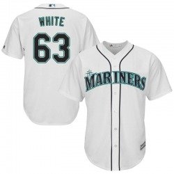 Evan White Seattle Mariners Youth Replica Majestic Cool Base Home Jersey - White