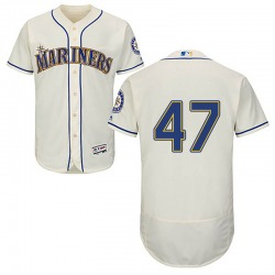 Ricardo Sanchez Seattle Mariners Youth Authentic Majestic Flex Base Alternate Collection Jersey - Cream