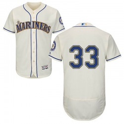 Justus Sheffield Seattle Mariners Youth Authentic Majestic Flex Base Alternate Collection Jersey - Cream