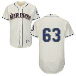 Evan White Seattle Mariners Youth Authentic Majestic Flex Base Cream Alternate Collection Jersey - White