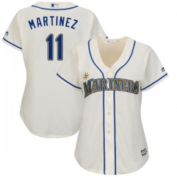 Edgar Martinez Seattle Mariners Women's Replica Cool Base Alternate Majestic Jersey - Cream