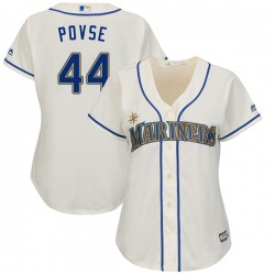 Max Povse Seattle Mariners Women's Replica Cool Base Alternate Majestic Jersey - Cream