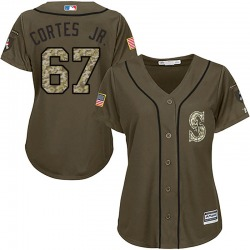 Nestor Cortes Jr. Seattle Mariners Women's Authentic Majestic Salute to Service Jersey - Green