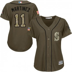 Edgar Martinez Seattle Mariners Women's Authentic Salute to Service Majestic Jersey - Green