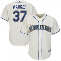 Parker Markel Seattle Mariners Men's Authentic Majestic Cool Base Alternate Jersey - Cream