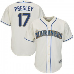 Jim Presley Seattle Mariners Men's Authentic Majestic Cool Base Alternate Jersey - Cream