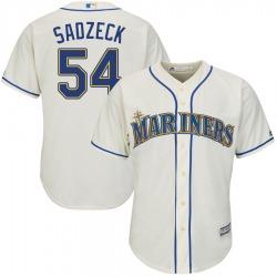 Connor Sadzeck Seattle Mariners Men's Authentic Majestic Cool Base Alternate Jersey - Cream