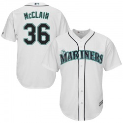 Reggie McClain Seattle Mariners Men's Replica Majestic Cool Base Home Jersey - White