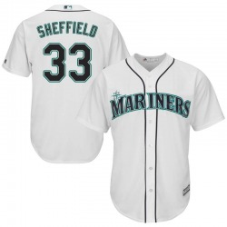 Justus Sheffield Seattle Mariners Men's Replica Majestic Cool Base Home Jersey - White