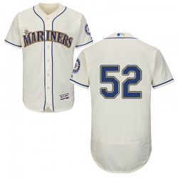 Anthony Bass Seattle Mariners Men's Authentic Majestic Flex Base Alternate Collection Jersey - Cream