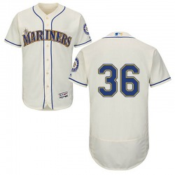 Jesse Biddle Seattle Mariners Men's Authentic Majestic Flex Base Alternate Collection Jersey - Cream