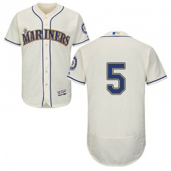 Braden Bishop Seattle Mariners Men's Authentic Majestic Flex Base Alternate Collection Jersey - Cream