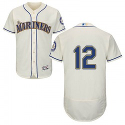 Ryan Court Seattle Mariners Men's Authentic Majestic Flex Base Alternate Collection Jersey - Cream