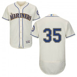 Justin Dunn Seattle Mariners Men's Authentic Majestic Flex Base Alternate Collection Jersey - Cream