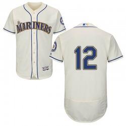 Carl Edwards Jr. Seattle Mariners Men's Authentic Majestic Flex Base Alternate Collection Jersey - Cream