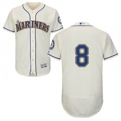 Jake Fraley Seattle Mariners Men's Authentic Majestic Flex Base Alternate Collection Jersey - Cream