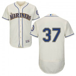 Zac Grotz Seattle Mariners Men's Authentic Majestic Flex Base Alternate Collection Jersey - Cream