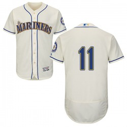 Edgar Martinez Seattle Mariners Men's Authentic Flex Base Alternate Collection Majestic Jersey - Cream
