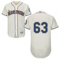 Evan White Seattle Mariners Men's Authentic Majestic Flex Base Cream Alternate Collection Jersey - White
