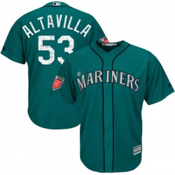 Dan Altavilla Seattle Mariners Youth Replica Cool Base 2018 Spring Training Majestic Jersey - Aqua