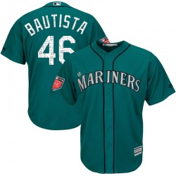Gerson Bautista Seattle Mariners Youth Replica Majestic Cool Base 2018 Spring Training Jersey - Aqua