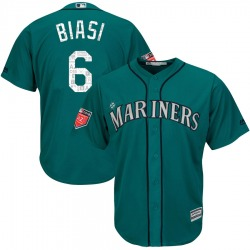 Sal Biasi Seattle Mariners Youth Replica Majestic Cool Base 2018 Spring Training Jersey - Aqua