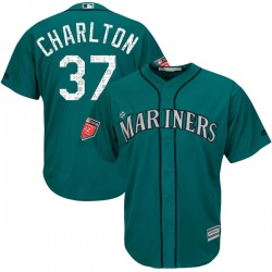Norm Charlton Seattle Mariners Youth Replica Majestic Cool Base 2018 Spring Training Jersey - Aqua