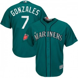 Marco Gonzales Seattle Mariners Youth Replica Majestic Cool Base 2018 Spring Training Jersey - Aqua