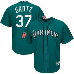 Zac Grotz Seattle Mariners Youth Replica Majestic Cool Base 2018 Spring Training Jersey - Aqua