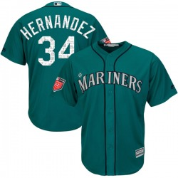 Felix Hernandez Seattle Mariners Youth Replica Cool Base 2018 Spring Training Majestic Jersey - Aqua