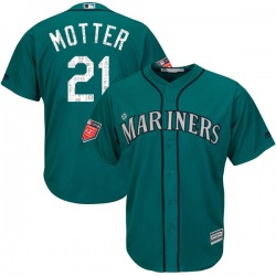 Taylor Motter Seattle Mariners Youth Replica Cool Base 2018 Spring Training Majestic Jersey - Aqua