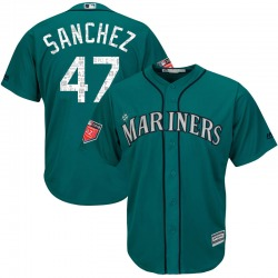 Ricardo Sanchez Seattle Mariners Youth Replica Majestic Cool Base 2018 Spring Training Jersey - Aqua