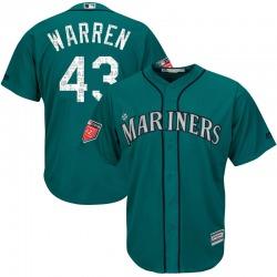 Arthur Warren Seattle Mariners Youth Replica Majestic Cool Base 2018 Spring Training Jersey - Aqua