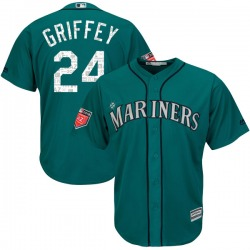 Ken Griffey Seattle Mariners Youth Authentic Majestic Cool Base 2018 Spring Training Jersey - Aqua