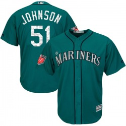 Randy Johnson Seattle Mariners Youth Authentic Majestic Cool Base 2018 Spring Training Jersey - Aqua