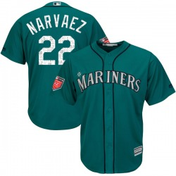 Omar Narvaez Seattle Mariners Youth Authentic Majestic Cool Base 2018 Spring Training Jersey - Aqua