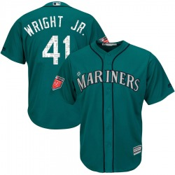 Mike Wright Jr. Seattle Mariners Youth Authentic Majestic Cool Base 2018 Spring Training Jersey - Aqua