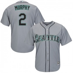 Tom Murphy Seattle Mariners Men's Authentic Majestic Cool Base Road Jersey - Gray