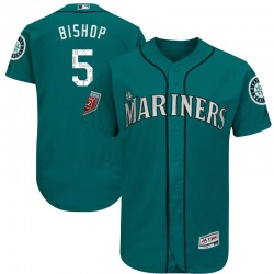 Braden Bishop Seattle Mariners Men's Authentic Majestic Flex Base 2018 Spring Training Jersey - Aqua