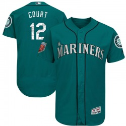 Ryan Court Seattle Mariners Men's Authentic Majestic Flex Base 2018 Spring Training Jersey - Aqua