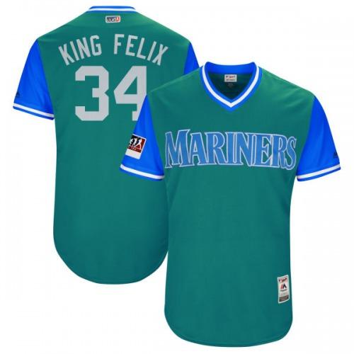 "Felix Hernandez Seattle Mariners Men's Authentic Majestic ""KING FELIX"" Aqua/ 2018 Players' Weekend Flex Base Jersey - Light Blue"