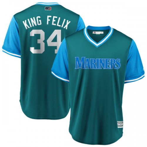 "Felix Hernandez Seattle Mariners Men's Replica Majestic ""KING FELIX"" Aqua/ 2018 Players' Weekend Cool Base Jersey - Light Blue"