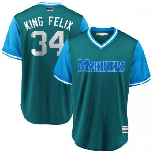"Felix Hernandez Seattle Mariners Youth Replica Majestic ""KING FELIX"" Aqua/ 2018 Players' Weekend Cool Base Jersey - Light Blue"