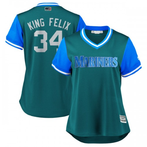 "Felix Hernandez Seattle Mariners Women's Replica Majestic ""KING FELIX"" Aqua/ 2018 Players' Weekend Cool Base Jersey - Light Blue"