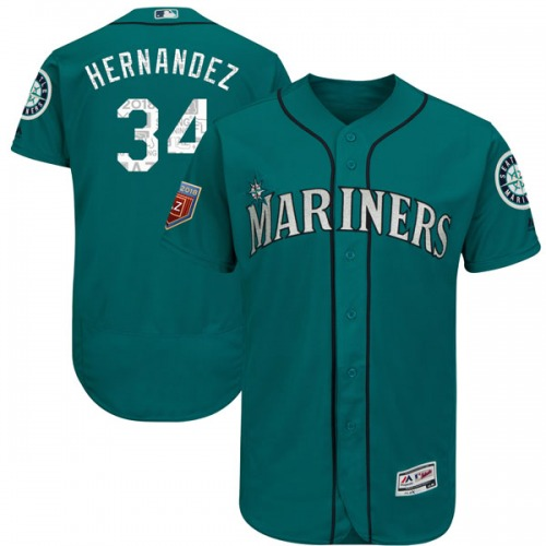 Felix Hernandez Seattle Mariners Youth Authentic Flex Base 2018 Spring Training Majestic Jersey - Aqua
